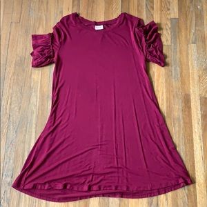 Dark Red T-Shirt Dress
